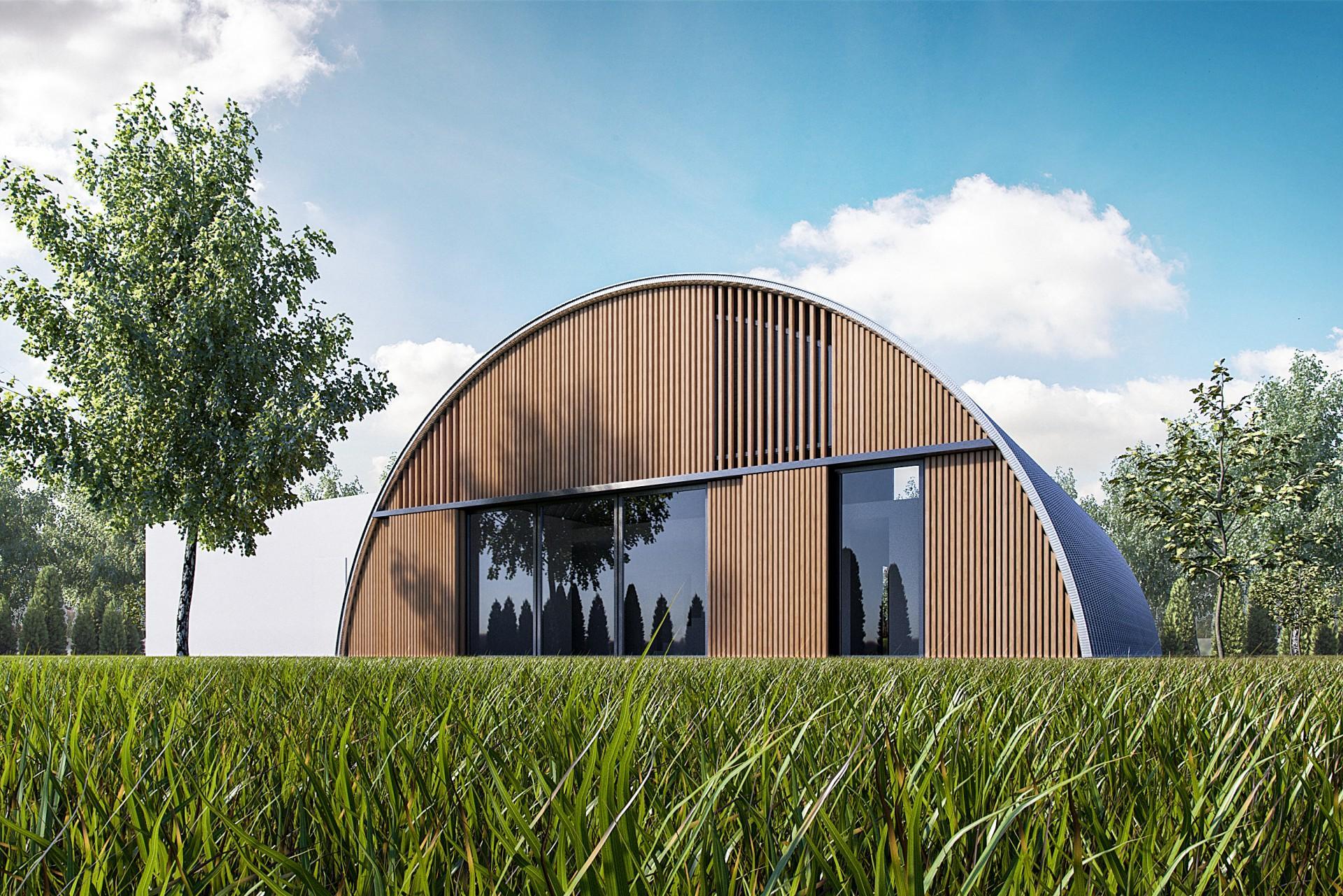 dom łukowy drewno tył